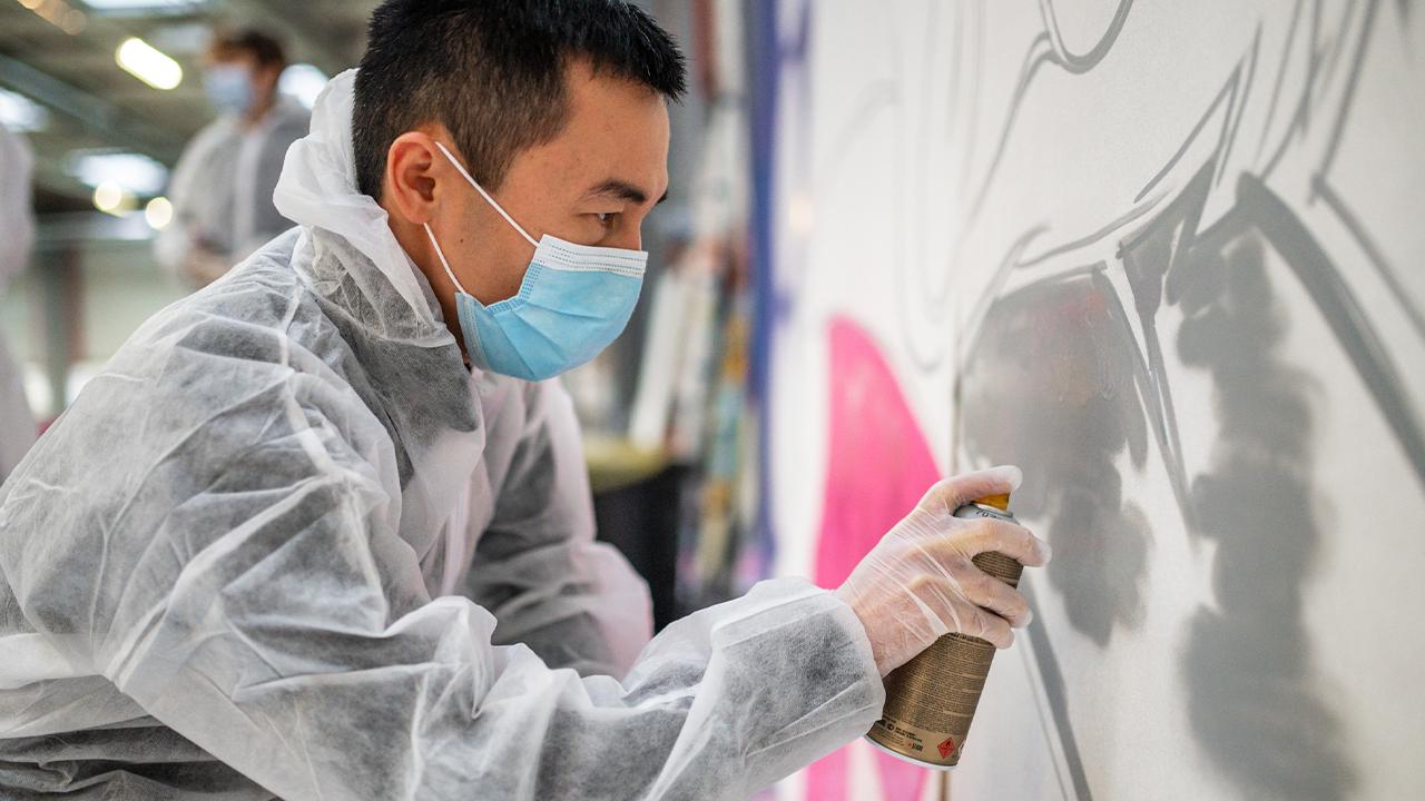 fresque créative dessin graff entreprises caen créativité cohésion